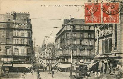 """CPA FRANCE 76 """"Rouen, la rue de la République"""""""