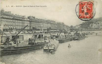 """CPA FRANCE 76 """"Rouen, Quai de Paris"""""""