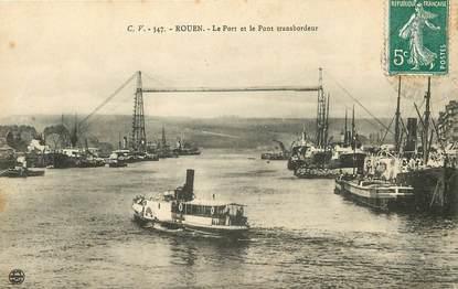 """CPA FRANCE 76 """"Rouen, le port et le pont transbordeur"""""""