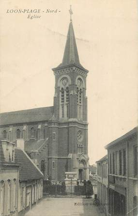 "/ CPA FRANCE 59 ""Loon plage, église"""