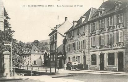 "CPA FRANCE 67 ""Niederbronn les Bains, rues Clémenceau et Wilson, brasserie restaurant"""