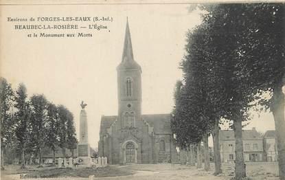 """/ CPA FRANCE 76 """"Beaubec La Rosière, l'église et le monument aux morts"""""""