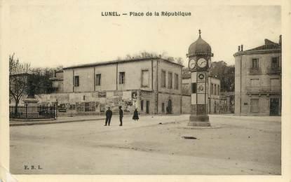 """CPA FRANCE 34 """"Lunel, Place de la République"""""""