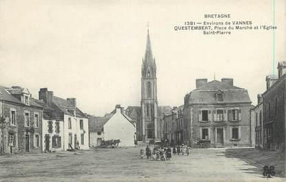 """/ CPA FRANCE 56 """"Questembert, place du marché et l'église Saint Pierre"""""""