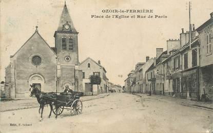 """CPA FRANCE 77 """"Ozoir la Ferrière, Place de l'Eglise et rue de Paris"""""""
