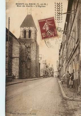 """CPA FRANCE 77 """"Rozoy en Brie, rue de paris, l'Eglise"""""""