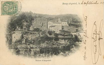 """CPA FRANCE 42  """"Bourg Argental, ruines d'Argental"""""""