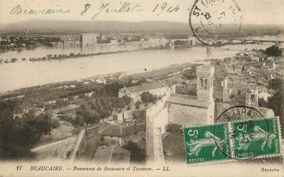 """CPA FRANCE 30 """"Beaucaire, panorama et tarascon"""""""