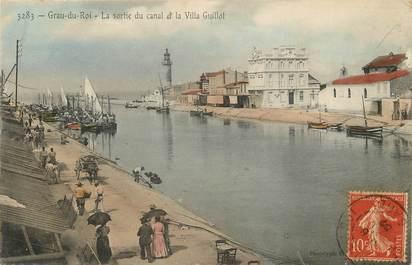 """CPA FRANCE 30 """"Le Grau du Roi, la sortie du canal et Villa Guillot"""""""