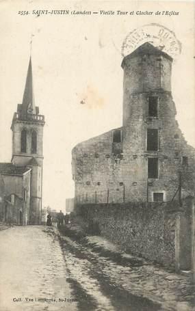 """/ CPA FRANCE 40 """"Saint Justin, vieille tour et clocher de l'église"""""""