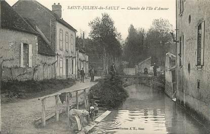 """/ CPA FRANCE 89 """"Saint Julien du Sault, chemin de l'Ile d'Amour"""""""