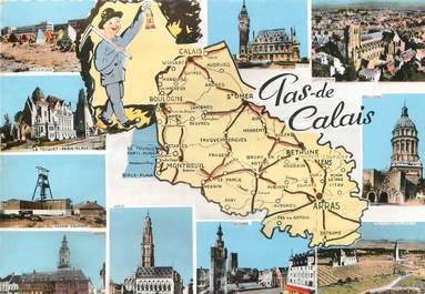 """/ CPSM FRANCE 62 """"Pas de Calais"""" / CARTE GEOGRAPHIQUE"""