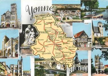 "/ CPSM FRANCE 89 ""Yonne"" / CARTE GEOGRAPHIQUE"