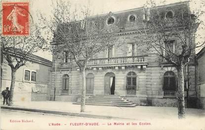 """CPA FRANCE 11 """"Fleury d'Aude, la mairie et les Ecoles"""""""