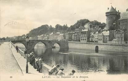 """CPA FRANCE 53 """"Laval, la Mayenne et le Donjon"""""""
