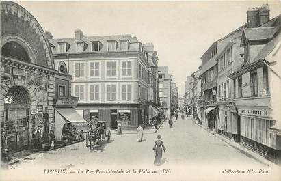 """CPA FRANCE 14 """"Lisieux, rue Pont Mortain et la Halle aux Blés"""""""