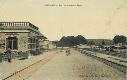 """/ CPA FRANCE 02 """"Soissons, port et nouveau pont"""""""