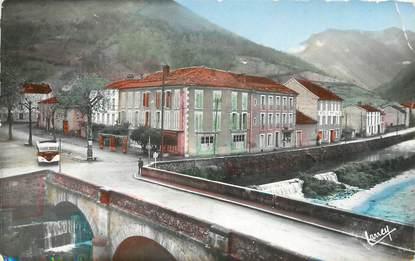 """/ CPSM FRANCE 09 """"Seix, le pont, les hôtels, la montagne de Fonta"""""""