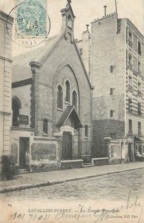 """/ CPA FRANCE 92 """"Levallois Perret"""" / TEMPLE PROTESTANT"""