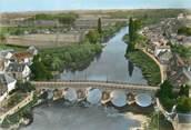 """18 Cher / CPSM FRANCE 18 """"Châteauneuf sur Cher, le pont du Cher"""""""
