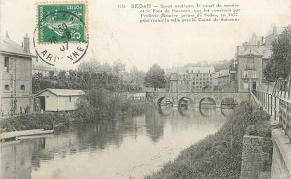 "CPA FRANCE 08 ""Sedan, sport nautique, le canal du moulin"""