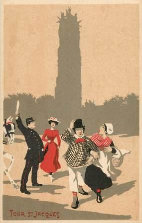CPA PARIS / Illustrateur / La Tour Saint Jacques