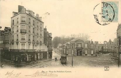 """CPA FRANCE 76 """"Eu, Place du Psdt Carnot"""""""