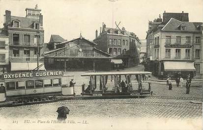 """CPA FRANCE 76 """"Eu, Place de l'Hôtel de ville"""""""