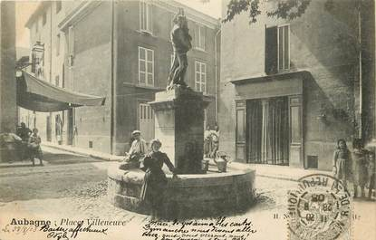 """CPA FRANCE 13 """"Aubagne, Place Villeneuve"""""""