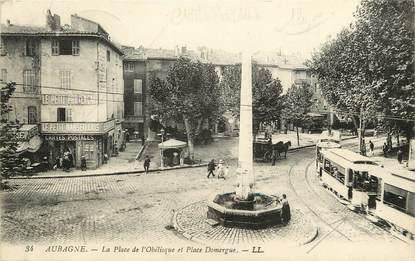 """CPA FRANCE 13 """"Aubagne, la Place de l'Obélisque et Place Domergue"""""""