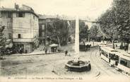 """13 Bouch Du Rhone CPA FRANCE 13 """"Aubagne, la Place de l'Obélisque et Place Domergue"""""""