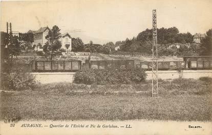 """CPA FRANCE 13 """"Aubagne, quartier de l'Evéché et Pic de Garlaban"""""""