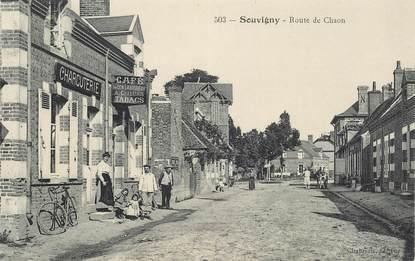 """CPA FRANCE 41 """"Souvigny, la rte de Chaon, Café Tabac charcuterie"""""""