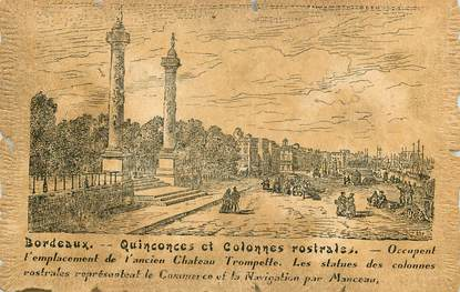 """CPA FRANCE 33 """"Bordeaux, quinconces et colonnes rostrales"""""""