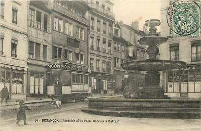 """CPA FRANCE 25 """"Besançon, fontaine de la place Bacchus"""" / TRAMWAY"""