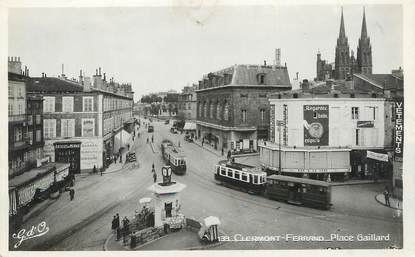 """/ CPSM FRANCE 63 """"Clermont Ferrand, place Gaillard"""" / TRAMWAY"""