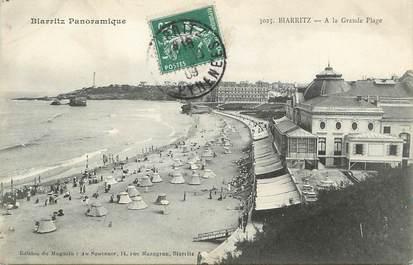 """/ CPA FRANCE 64 """"Biarritz, à la grande plage"""" / BIARRITZ PANORAMIQUE"""
