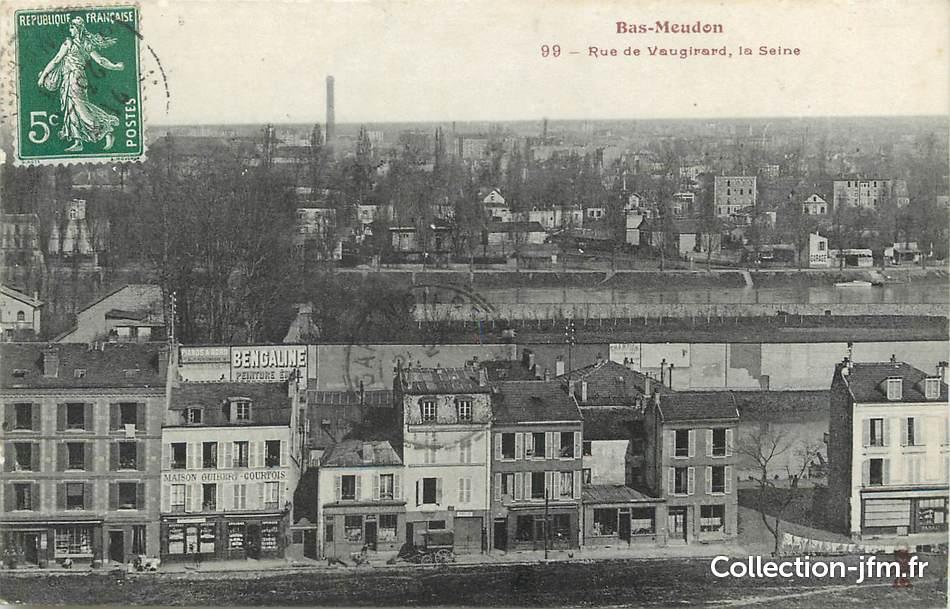 Cpa france 92 bas meudon rue de vaugirard la seine for 92 haute seine
