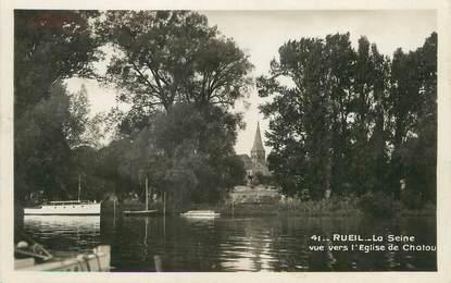 """/ CPSM FRANCE 92 """"Rueil Malmaison, la Seine, vue vers l'église de Chatou"""""""