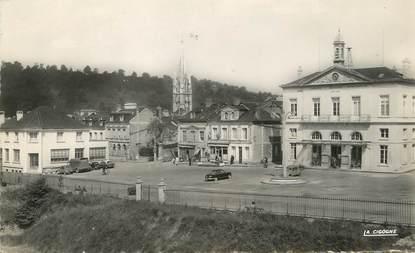 """/ CPSM FRANCE 76 """"Lillebonne, la place de l'hôtel de ville et la poste"""""""
