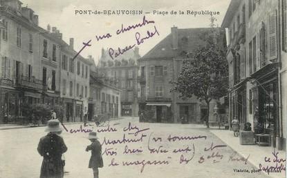 """/ CPA FRANCE 38 """"Pont de Beauvoisin, Place de la République """""""