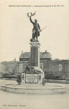 """CPA FRANCE 02 """"Origny en Thiérache, monument aux morts, inauguré le 29 mai 1921"""""""