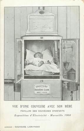 """CPA FRANCE 13 """"Marseille, Pavillon des couveuses d'enfants, Exposition d'Electricité 1908"""""""