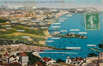"""CPA FRANCE 06 """"la Côte d'Azur à vol d'oiseau, de Cannes à Nice"""""""