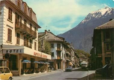 """/ CPSM FRANCE 73 """"Saint Michel de Maurienne, la grand'rue, hôtel Garages"""""""