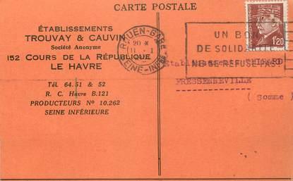 """/ CPA FRANCE 76 """"Le Havre, établissement Trouvay et Cauvin"""" / CARTE PUBLICITAIRE"""