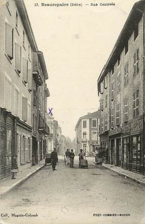 "/ CPA FRANCE 38 "" Beaurepaire, rue centrale"""