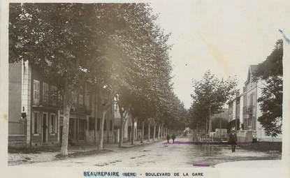 """/ CPSM FRANCE 38 """"Beaurepaire, Bld de la gare"""""""