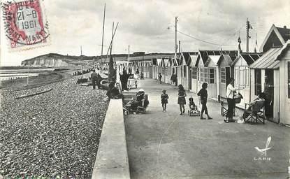 """/ CPSM FRANCE 76 """"Quiberville plage, la plage et la Falaise d'Amont"""""""
