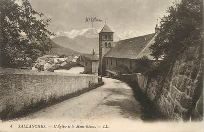 """/ CPA FRANCE 74 """"Sallanches, l'église et le Mont Blanc"""""""